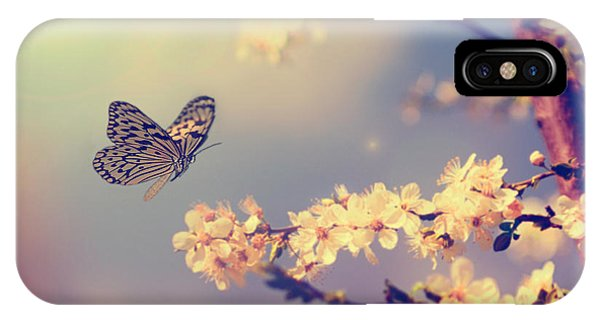 Organic iPhone Case - Vintage Butterfly And Cherry Tree by Dark Moon Pictures