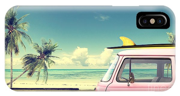 Surfboard iPhone Case - Vintage Car In The Beach With A by Jakkapan