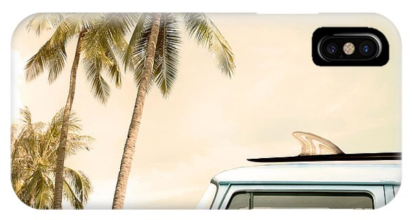 Surfboard iPhone Case - Vintage Car Parked On The Tropical by Jakkapan