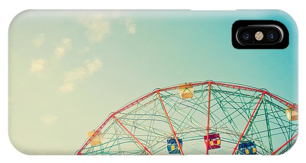 Carousel iPhone Case - Vintage Colorful Ferris Wheel Over Blue by Andrekart Photography