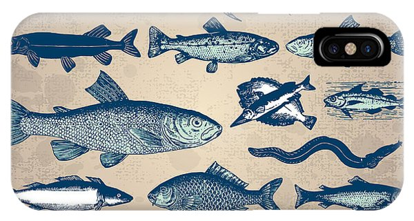 Zoology iPhone Case - Vintage Fish Drawings Set, Vector by Mila Petkova