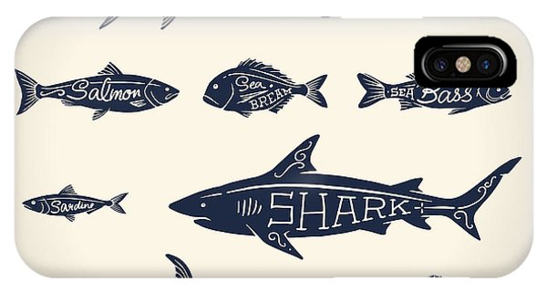 White Background iPhone Case - Vintage Illustration Of Fish With Names by Hauvi