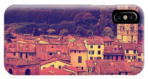 Old Building iPhone Case - Vintage Image Of Lucca At Sunset, Old by Elenamiv