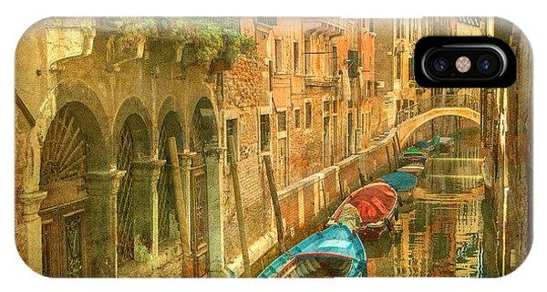 Romance iPhone Case - Vintage Image Of Venetian Canals by Javarman