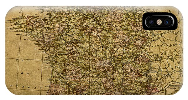 French iPhone Case - Vintage Map Of France 1892 by Design Turnpike