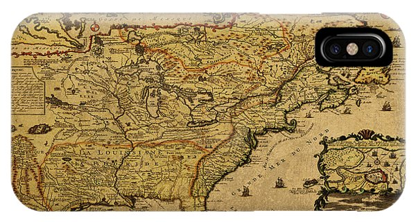 French iPhone Case - Vintage Map Of French America 1719 by Design Turnpike