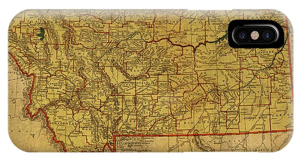 Montana State iPhone Case - Vintage Map Of Montana by Design Turnpike