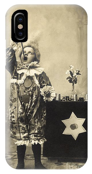 Illusion iPhone Case - Vintage Photo Of Child Sword Swallower by Chippix
