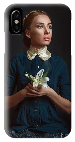 Past iPhone Case - Vintage Portrait Of A Girl With A by Ishimaru