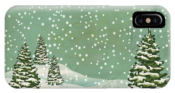 Space iPhone Case - Vintage Postcard With Christmas Trees by Alkestida