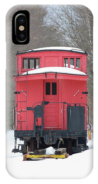 Red Caboose iPhone Case - Vintage Red Caboose In Winter by Edward Fielding