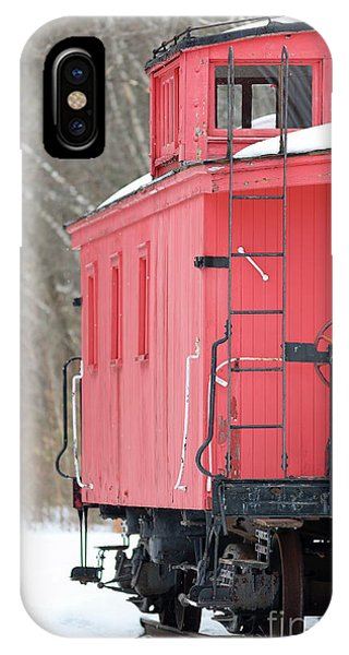 Red Caboose iPhone Case - Vintage Red Caboose Potters Place Andover Nh by Edward Fielding