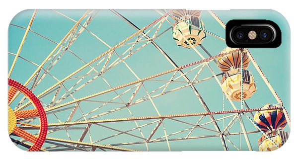 Fair iPhone Case - Vintage Retro Ferris Wheel On Blue Sky by Andrekart Photography