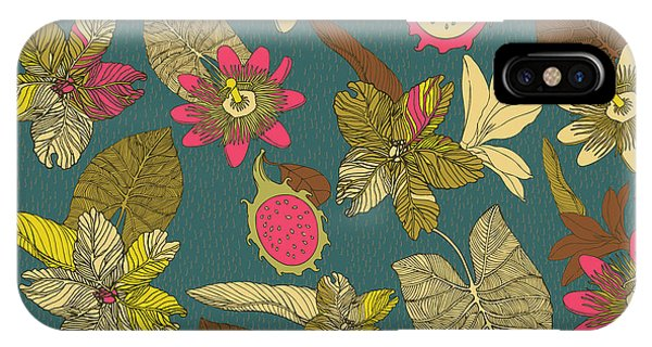 Summer Fruit iPhone Case - Vintage Seamless Tropical Flowers With by Zolssa