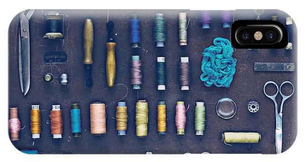 Needles iPhone Case - Vintage Set Of Designer Clothes On A by Evgeniya Porechenskaya