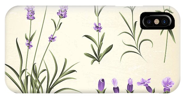 Violet iPhone Case - Vintage Set Of Lavender Flowers by Kotkoa