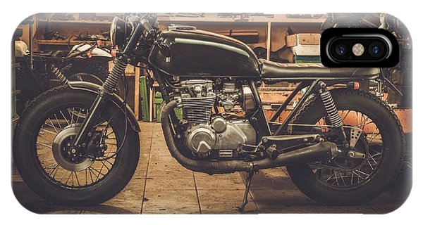 Cafe iPhone Case - Vintage Style Cafe-racer Motorcycle In by Nejron Photo