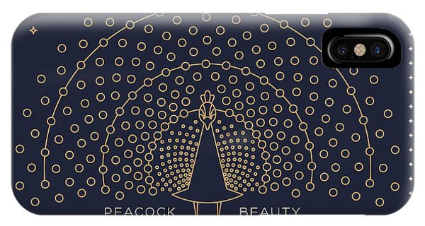 Peafowl iPhone Case - Vintage Thin Line Peacock Label. Retro by Karnoff