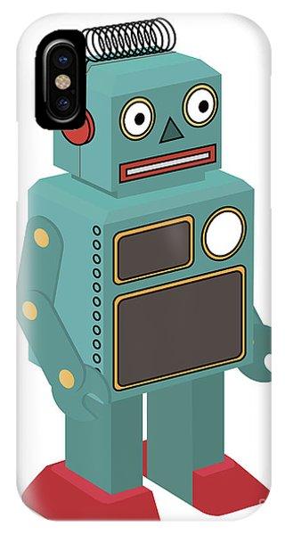 Vector Graphics iPhone Case - Vintage Toy Robot by Natt