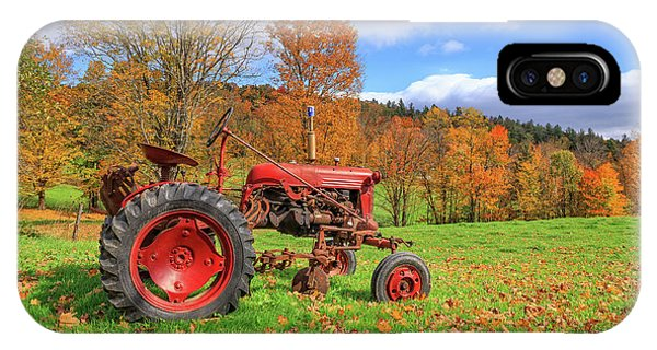 New England Fall Foliage iPhone Case - Vintage Tractor Fall Foliage Season Vermont by Edward Fielding