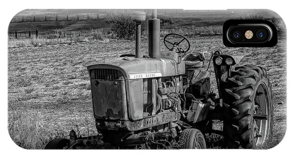 Vintage Tractor In Honeyville Bw IPhone Case