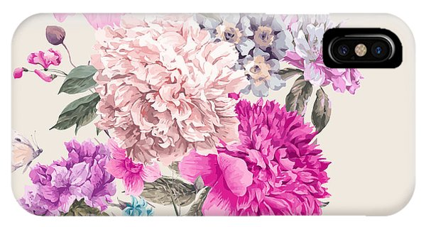 Peony iPhone Case - Vintage Watercolor Vector Floral by Depiano