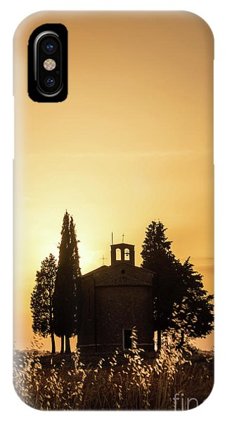 Chapel iPhone Case - Vitaleta Chapel At Sunset, Tuscany Italy by Delphimages Photo Creations
