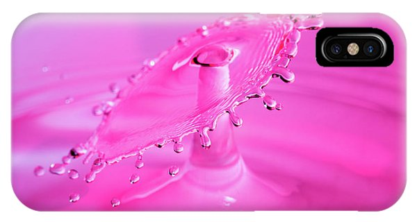 IPhone Case featuring the photograph Vivid Pink Water Drop Collision by SR Green