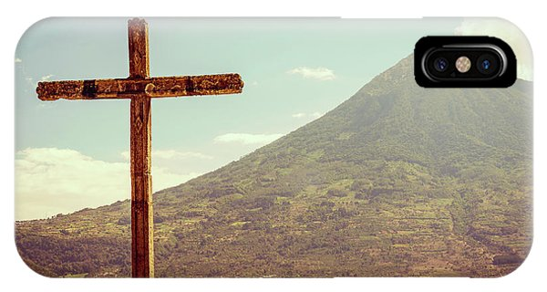 IPhone Case featuring the photograph Volcano And Cross In Antigua Guatemala by Tim Hester