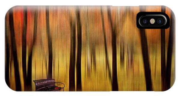 Park Bench iPhone Case - Waiting For You In My Dreams by Debra and Dave Vanderlaan