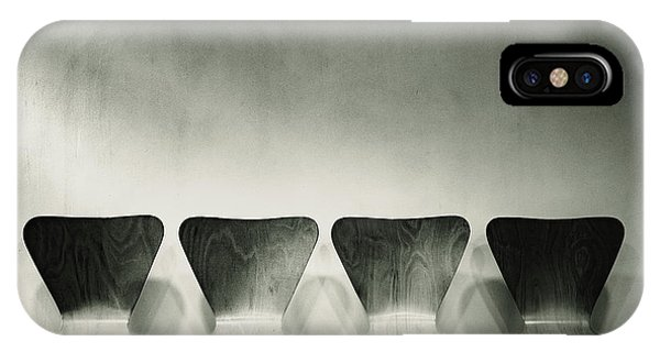 Waiting Room With Empty Wooden Chairs, Concept Of Waiting And Passage Of Time, Black And White Image, Free Space For Text. IPhone Case
