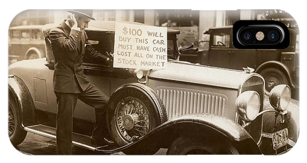American Cars iPhone Case - Wall Street Crash, 1929 by Granger