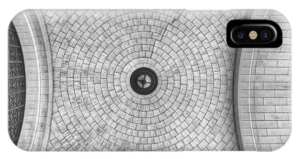 IPhone Case featuring the photograph Washington Union Station Ceiling 2 Washington D.c. - Black And White  by Marianna Mills