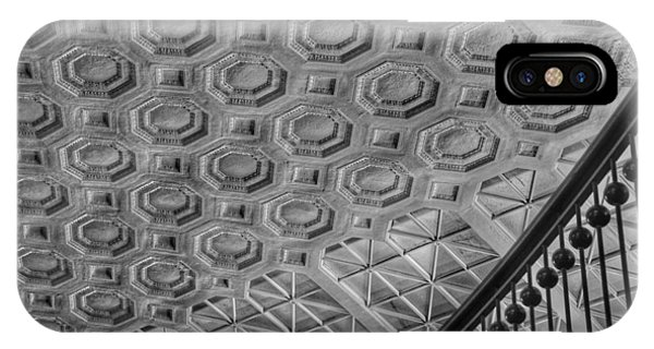 IPhone Case featuring the photograph Washington Union Station Ceiling Washington D.c. - Black And White by Marianna Mills
