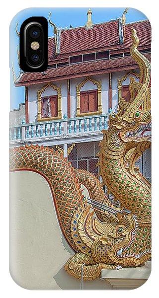 IPhone Case featuring the photograph Wat Chai Mongkon Phra Ubosot Makara And Naga Guardian Dthlu0396 by Gerry Gantt