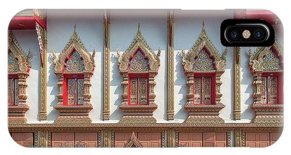 IPhone Case featuring the photograph Wat Chai Mongkon Phra Ubosot Windows Dthlu0398 by Gerry Gantt