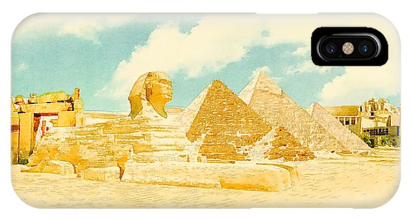 Egyptian iPhone X Case - Water Color Panoramic Egypt Illustration by Trentemoller