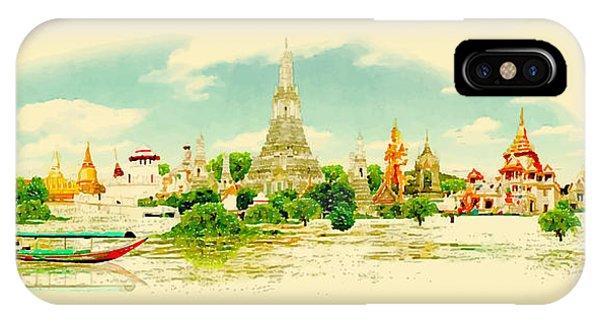 Modern iPhone Case - Water Color Vector Panoramic Bangkok by Trentemoller