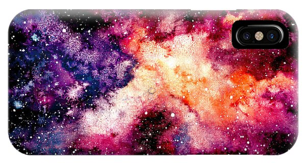 Violet iPhone Case - Watercolor Background With Outer Space by Nebula Cordata