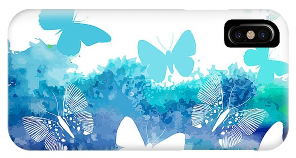 Zoology iPhone Case - Watercolor Blue Background With by Ihnatovich Maryia