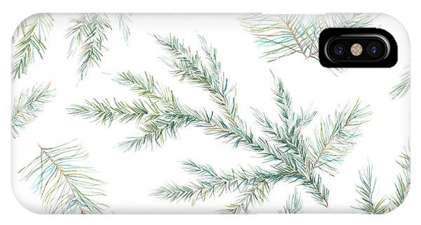 Needles iPhone Case - Watercolor Christmas Tree Branches by Eisfrei