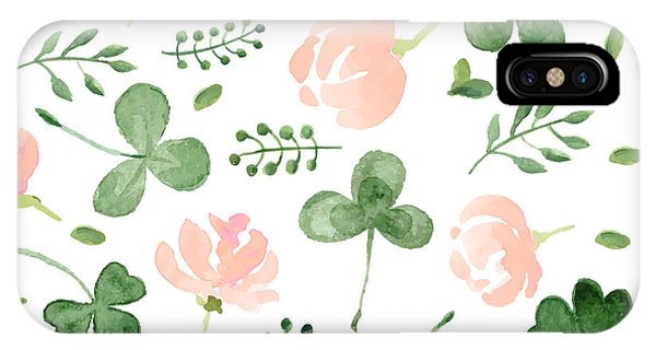 Irish iPhone Case - Watercolor Clover And Little Flowers by Antalogiya