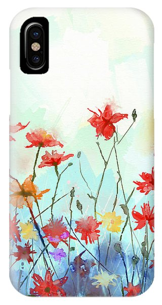 Violet iPhone Case - Watercolor Flowers Painting In Soft by Pluie r