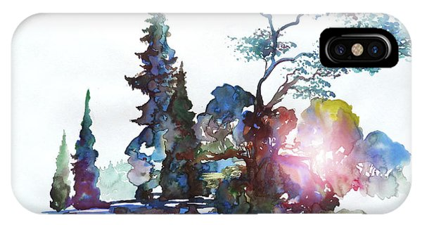 Watercolor Forest And Pond IPhone Case