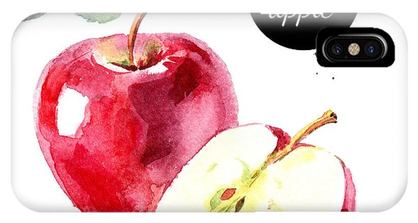 Ingredient iPhone Case - Watercolor Hand Drawn Red Apple by Pimlena