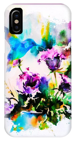 Simple iPhone Case - Watercolor Hummingbird by Tim Palmer