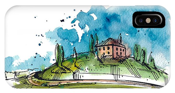 Sketch Pen iPhone Case - Watercolor Illustration Of A Tuscany by Julia Henze