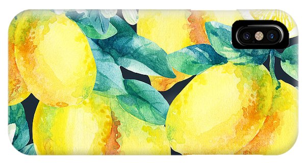 Summer Fruit iPhone Case - Watercolor Lemon Fruit Branch With by Tanya Syrytsyna