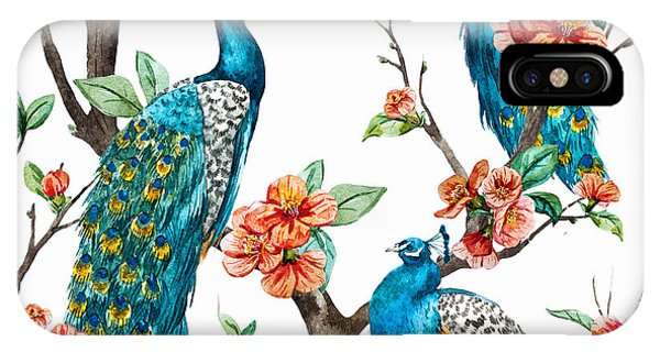 New Trend iPhone Case - Watercolor Pattern Peacock On A Tree by Anastasia Lembrik