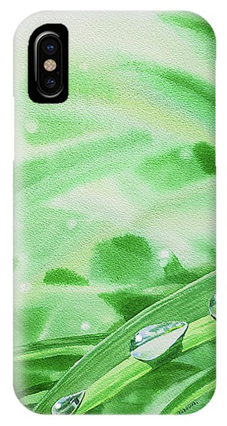 Hyper Realism iPhone Case - Watercolor Realism Morning Dew Drops by Irina Sztukowski